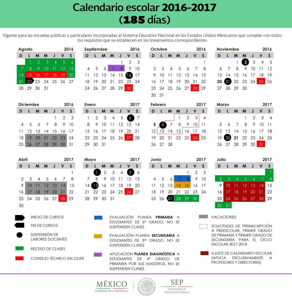 Calendario SEP 200 días