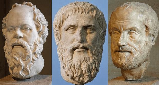 Los tres grandes filósofos de la Gecia Antigua: Sócrates, Platón y Aristóteles