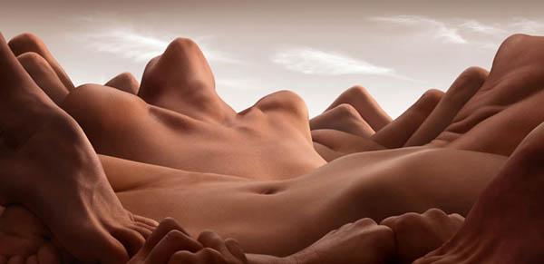 Bodyscape- Paisajes con cuerpos desnudos por Carl Warner.