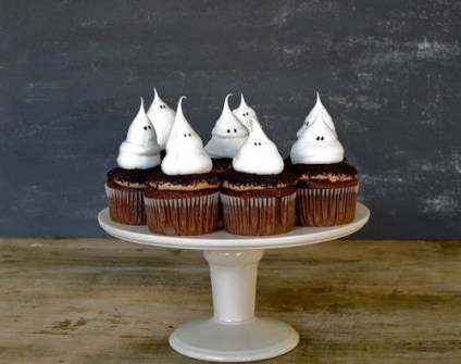 Cupcakes para Halloween de fantasmitas
