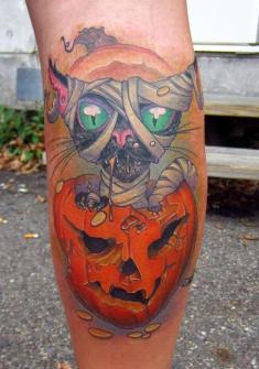 Tatuajes para Halloween con Calabazas y Gatos Negros