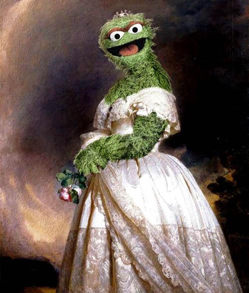 Personajes de Barrio Sésamo en Obras de Arte - Animal como la Reina Victoria