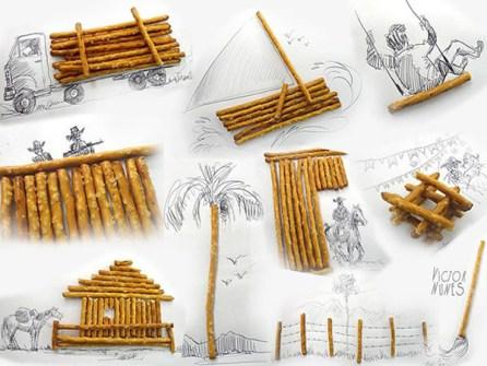 Ilustraciones en 3D que están a tu alcance - Palitos Pretzel