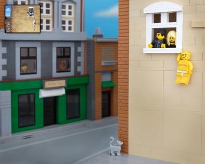 Fusión de Banksy y LEGO - Hanging Man