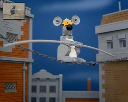 Fusión de Banksy y LEGO - Tightrope Rat