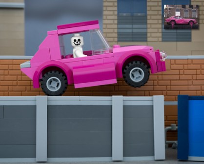Fusión de Banksy y LEGO - Skeleton Car