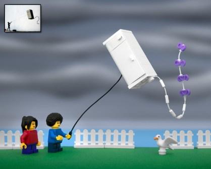 Fusión de Banksy y LEGO - Fridge Kite