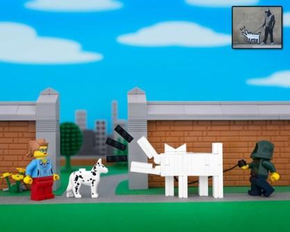 Fusión de Banksy y LEGO - Banksy Haring Dog