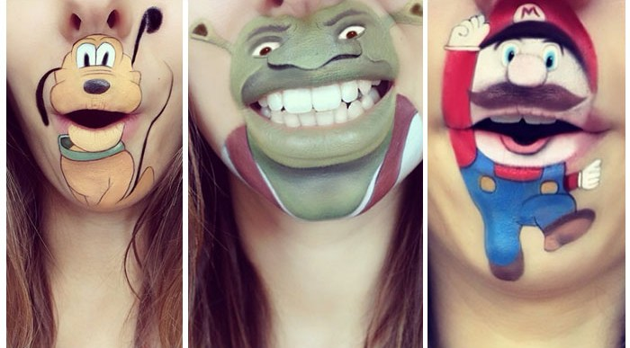 Labios Caricaturizados con Personajes Infantiles.