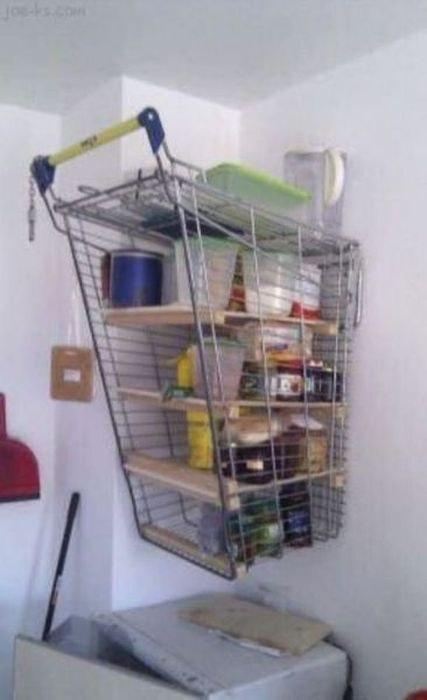 inventos caseros rudimentarios que realmente funcionan estantera carrito de la compra - Estanterias Caseras
