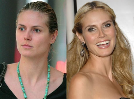 Transformaciones Impresionantes Heidi Klum sin Maquillarse.
