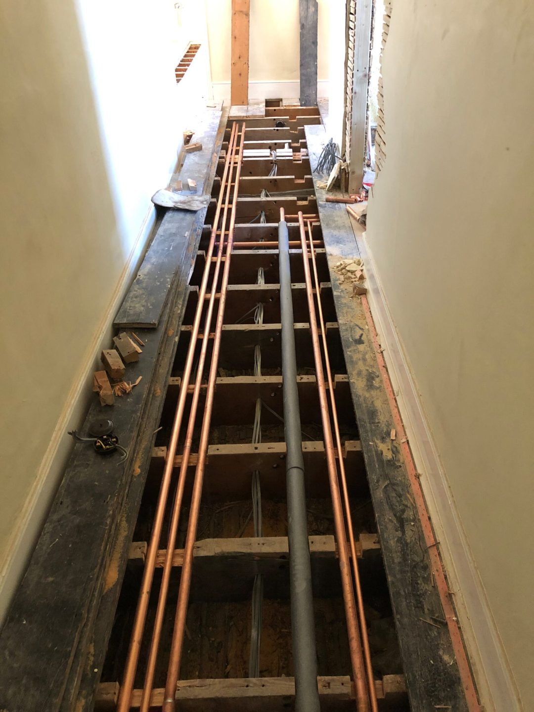 New heating pipes installed