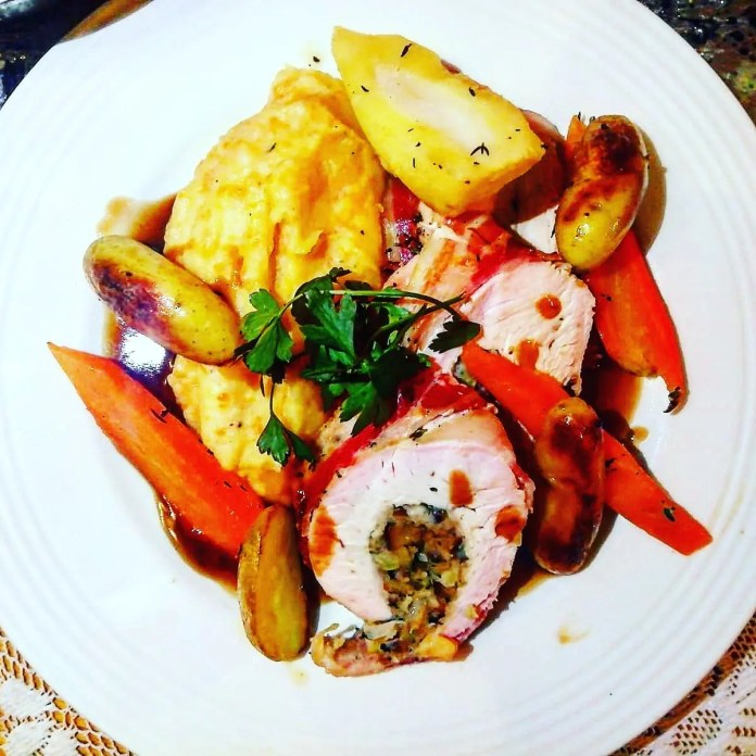 Stuffed turkey with a chestnut and apple stuffing by Paul Watters