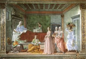 """""""The Birth of John the Baptist,"""" fresco — 1486-1490 by Domenico Ghirlandaio (1449 – 1494) Available from https://www.artbible.info/art/large/581.html"""