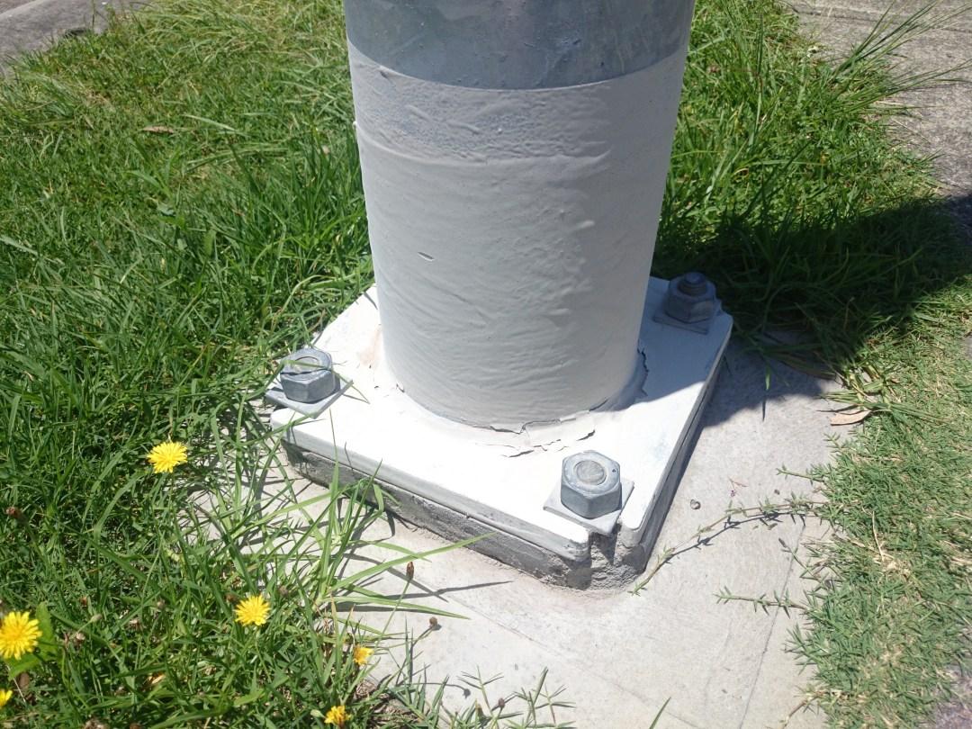 Paint peeling streetlight base