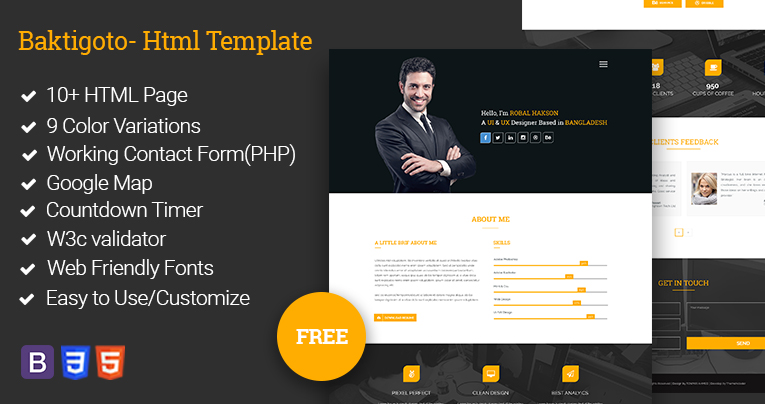 Baktigoto U2013 Resume HTML Template Free Download