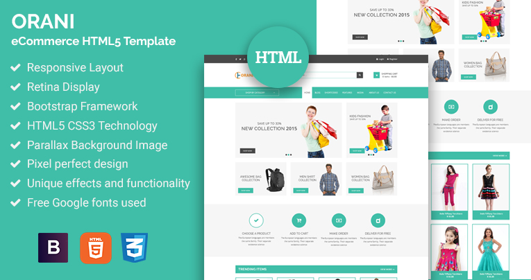 Orani - eCommerce HTML5 Template Free Download by revolthemes