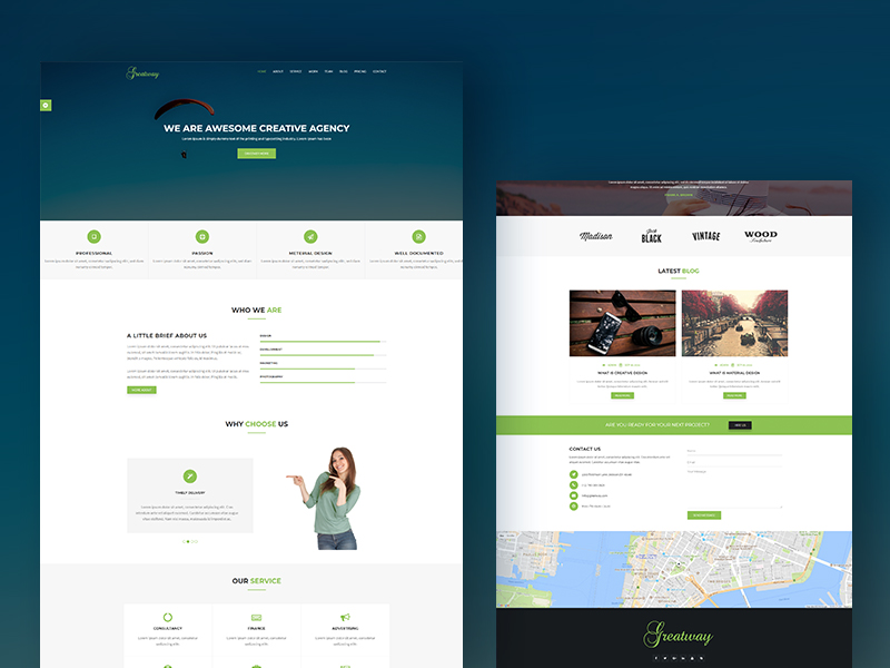 Greatway - Material Design Agency Bootstrap Template Download