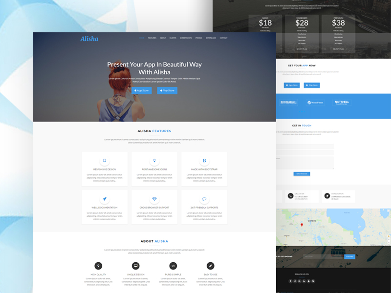 alisha responsive app landing page template download