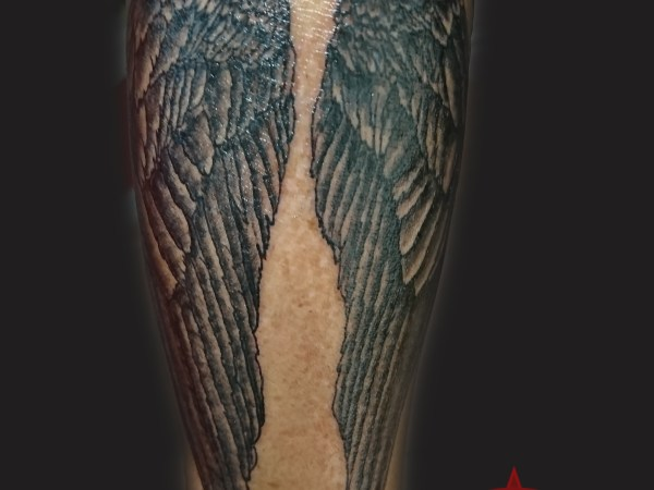 angel wings tattoo, black & grey by Dana