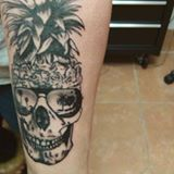 pineapple skull tattoo black and grey tattoo by Dana