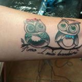 new school owl tattoo by Dana