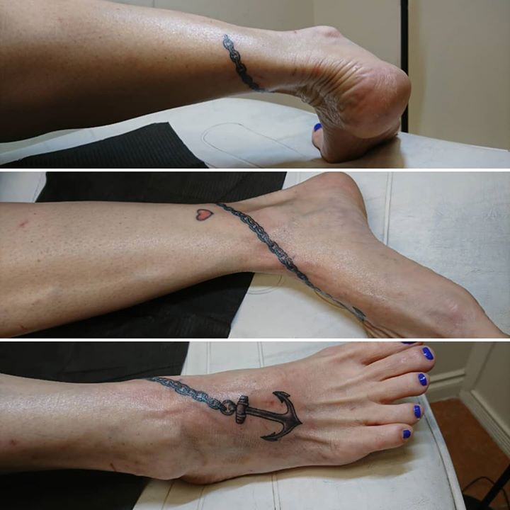 Cool anchor anklet done by Dana at Revolution Ink Tatto...
