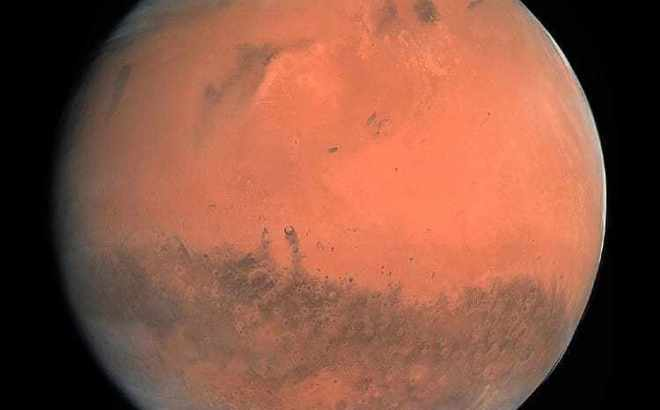 close up of the red planet