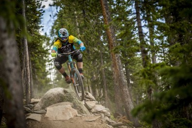 Richie floating through is home country Enduro World Series event in Colorado.