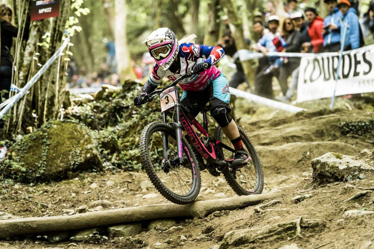 Tracey Hannah performs at UCI DH World Cup in Lourdes, France on April 30th, 2017 // Bartek Wolinski/Red Bull Content Pool // P-20170430-01263 // Usage for editorial use only // Please go to www.redbullcontentpool.com for further information. //
