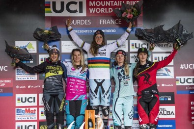 Myriam Nicole, Tracey Hannah, Rachel Atherton, Tahnee Seagrave, Manon Carpenter stand on the podium at UCI DH World Cup in Lourdes, France on April 30th, 2017 // Bartek Wolinski/Red Bull Content Pool // P-20170430-01299 // Usage for editorial use only // Please go to www.redbullcontentpool.com for further information. //