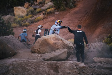 Szymon Godziek congratulated by Ethan nall on his trick at Red Bull Rampage in Virgin, Utah, USA on 23 October, 2019. // Paris Gore / Red Bull Content Pool // AP-21YFK6KZS1W11 // Usage for editorial use only //
