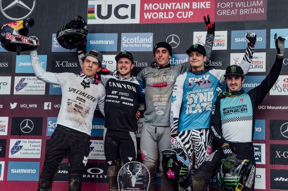 Finn Iles, Troy Brosnan, Amaury Pierron, Loris Vergier, Danny Hart stand on the podium at UCI DH World Cup in Fort William, Great Britain on June 2nd, 2019 // Bartek Wolinski/Red Bull Content Pool // AP-1ZHAP4VDS2111 // Usage for editorial use only //