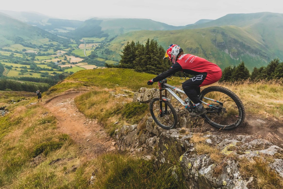 Laurie Greenland rides the course at RedBull Hardline in Dinas Mawydd, Wales. // SI202107250080 // Usage for editorial use only //