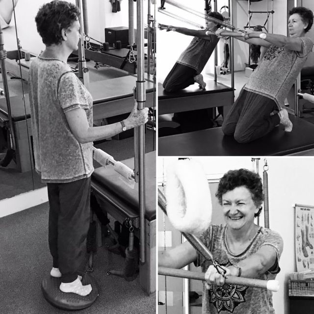 Getting her Pilates Trapeze onand ending with a laugh Wellhellip