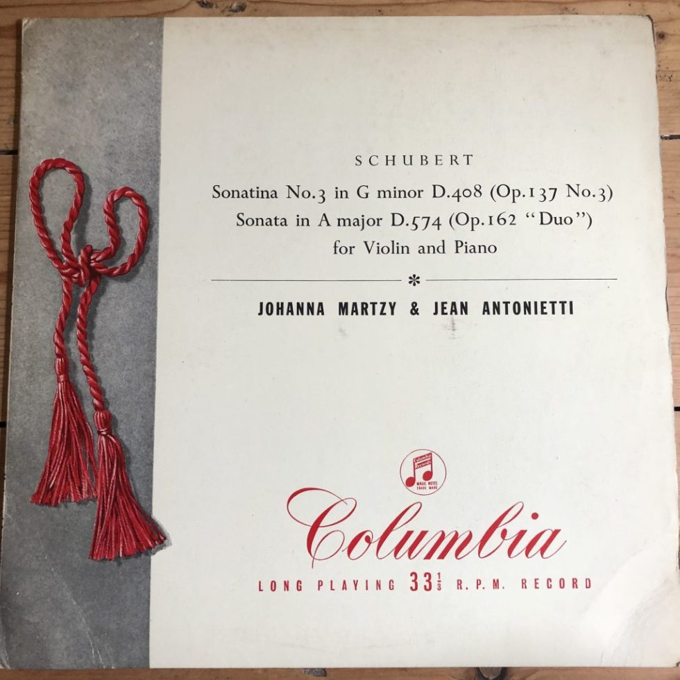 33CX 1399 Schubert Sonatas for Violin & Piano / Johanna Martzy B/G