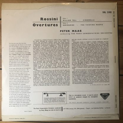 SXL 2182 Rossini Overtures / Maag / PCO W/B