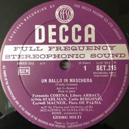 SET 215-7 Verdi Un Ballo in Maschera / Solti W/B 3 LP box set