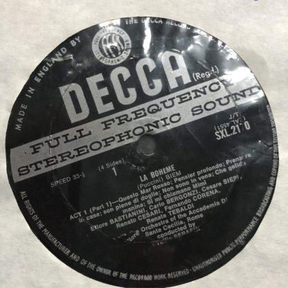 SXL 2170/1 Puccini La Boheme / Tebaldi / Bergonzi / Serafin W/B 2 LP box