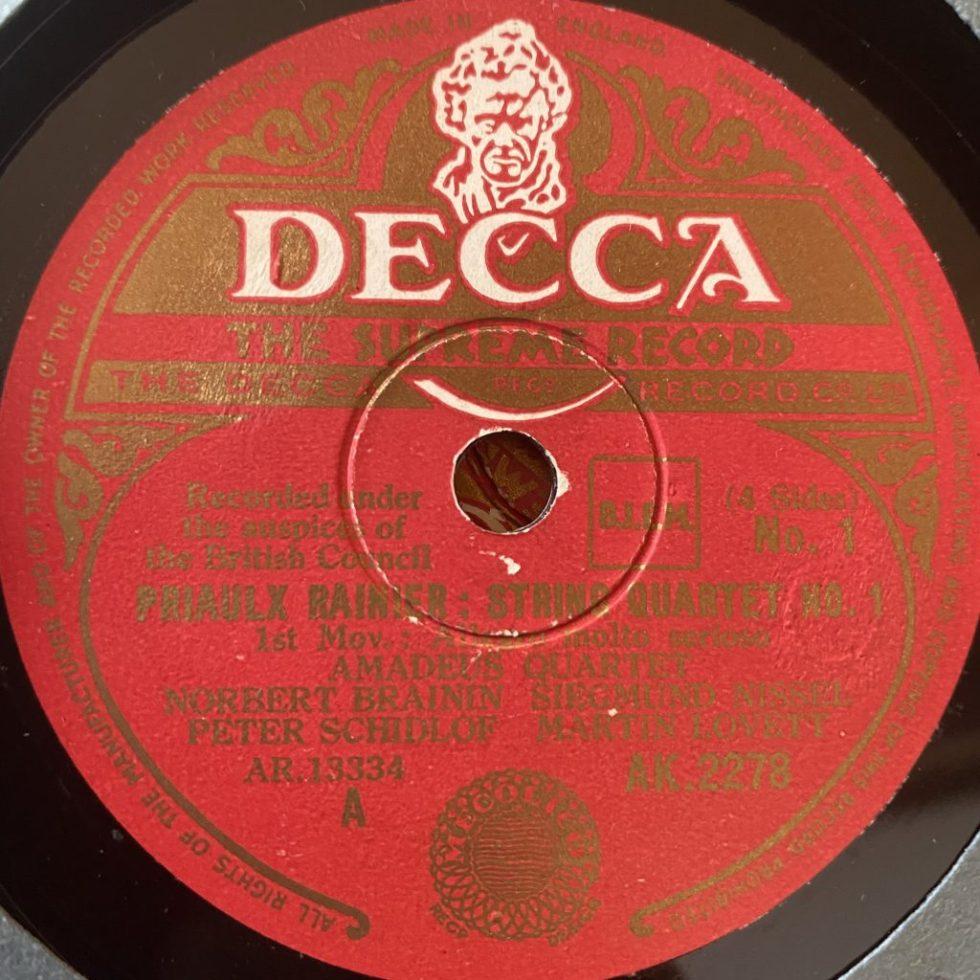 AK 2278/9 Priaulx Rainier String Quartet No. 1