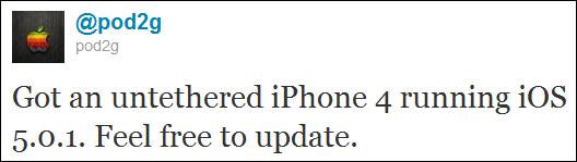 Pod2g Confirmed iOS 5 Untethered Jailbreak Also for iOS 5.0.1-tweet