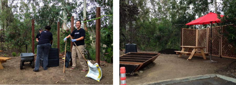 REV Circle Participants, United Way of San Diego, utilized an old bookshelf and a corner of their parking lot to start a small employee-maintained garden and compost program. Fresh herbs and veggies coming soon!