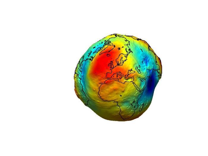 Le géoïde terrestre, exagéré, mesuré par le satellite GOCE de l'Agence spatiale européenne. En rouge figurent les bosses du géoïde, et en bleu les creux du géoïde.