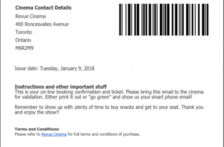 Online ticket email
