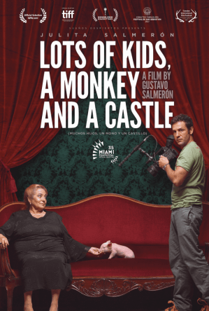 lots of kids a monkey and a castle poster