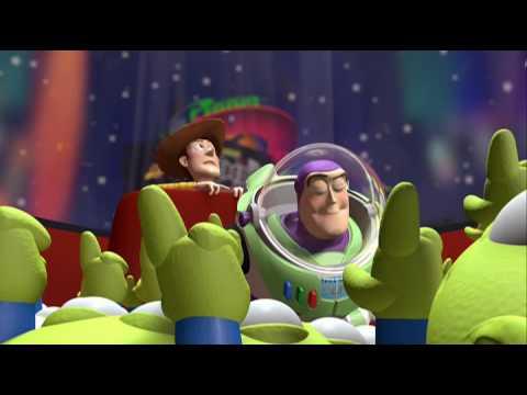 Toy Story : scène dans laquelle Buzz et Woody sont prisonnier dans le jeu d'arcade du Pizza Planet et rencontrent les aliens verts
