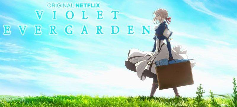 Affiche officielle de Violet Evergarden, estampillée Netflix et reprise sur le coffret DVD