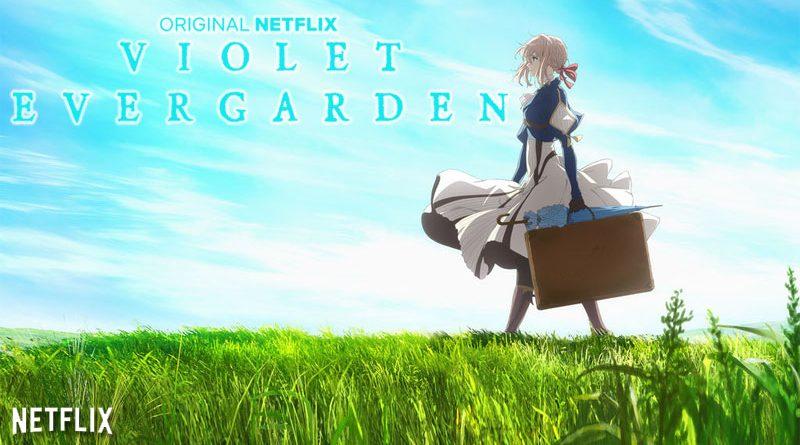 Violet Evergarden, se promenant dans un pré avec une valise