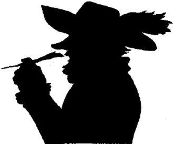 Profil de Cyrano de Bergerac, Noir sur fond blanc