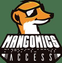 Logo de Mangomics-access : une mangouste avec des lunettes de soleil stylisée façon comics. Le nom de l'association est écrit en braille